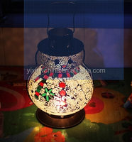Snowman Shape Mosaic Glass Lantern for Christmas Valentine's Day
