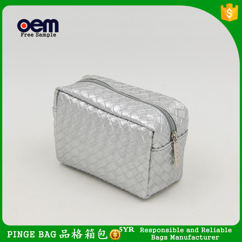 Silver PU Woven Material AVONM Cosmetic Bag Ladies Leather Rectangular Cosmetics Makeup Case