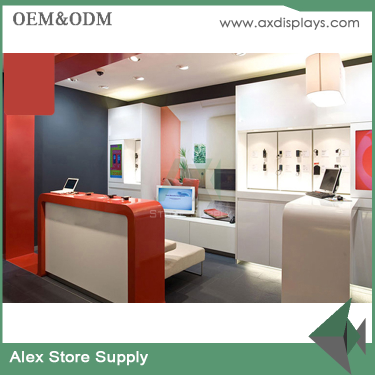 Mobile service shop and accessories store, wood shop counter design for phone retail shop