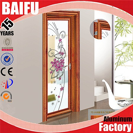 BaiFu Aluminium Frame Frosted Glass Door With Flower Designs