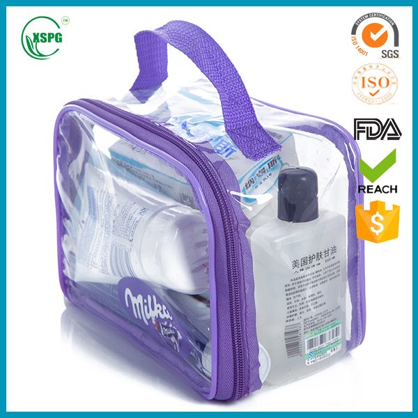 Pvc plastic packaging bags for clothing/underware pvc zipper packaging with hander