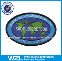Oval shape chest woven tags label, Embroidered world maps woven patches