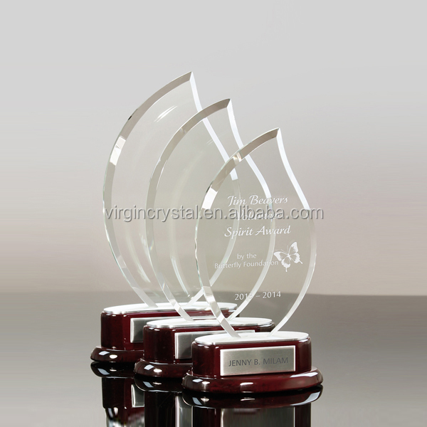 Promotional blank flame crystal glass trophy award plaque with wooden base for custom