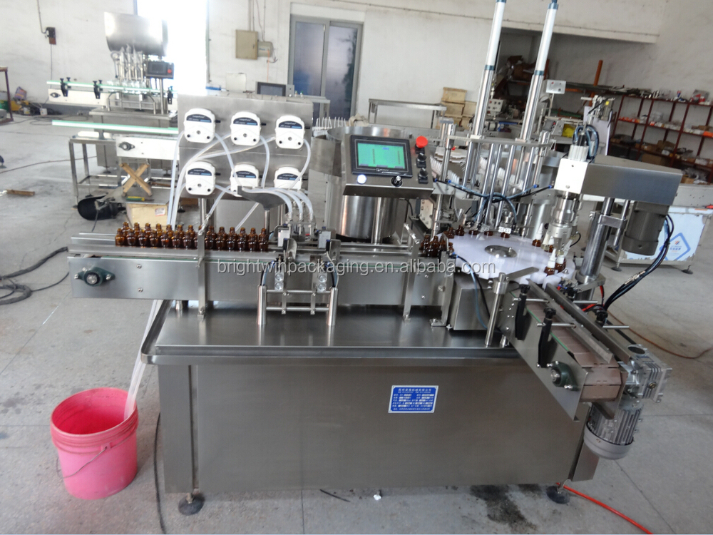full automatic small bottle pharmcy syrup filling sealing machine