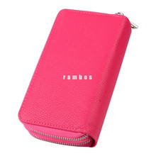 Universal Ladies Women Wallet Purse Leather Phone Pouch Coin Holder for 5.1 inch Smartphones with Double Zipper