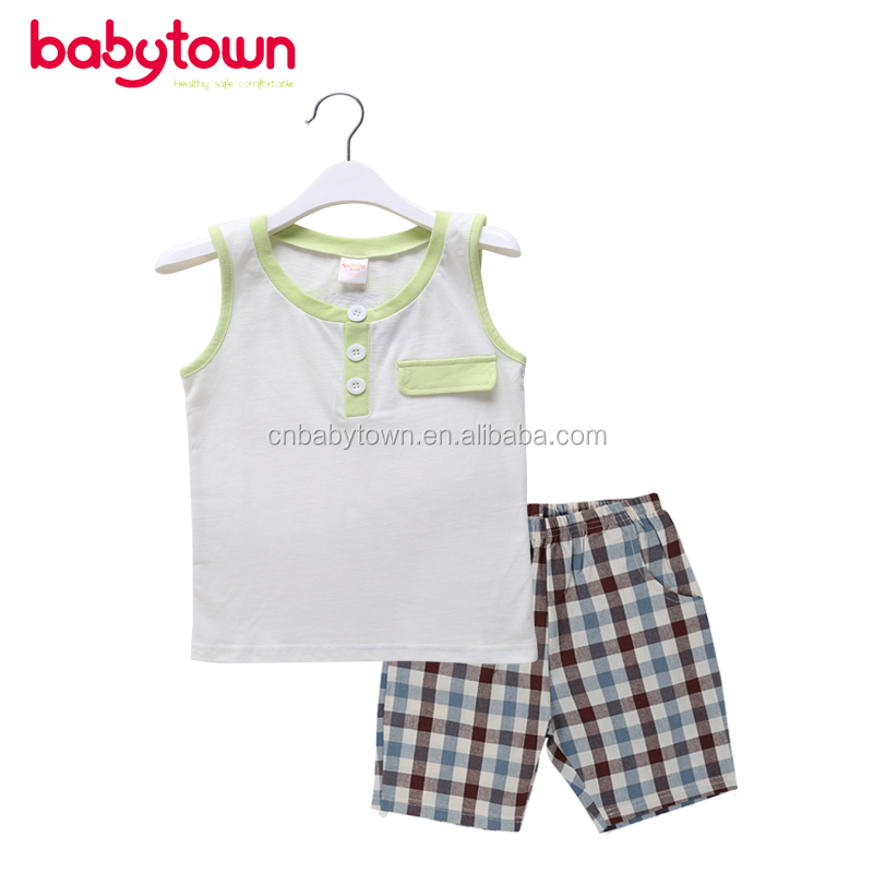 boy's OEM Fashion Design 100%cotton sleeveless lovely printed vest suit