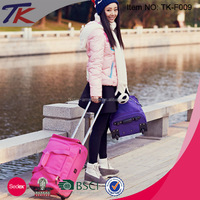 Fashion Multi-color Rolling Collapsible Duffel Bag with Trolley