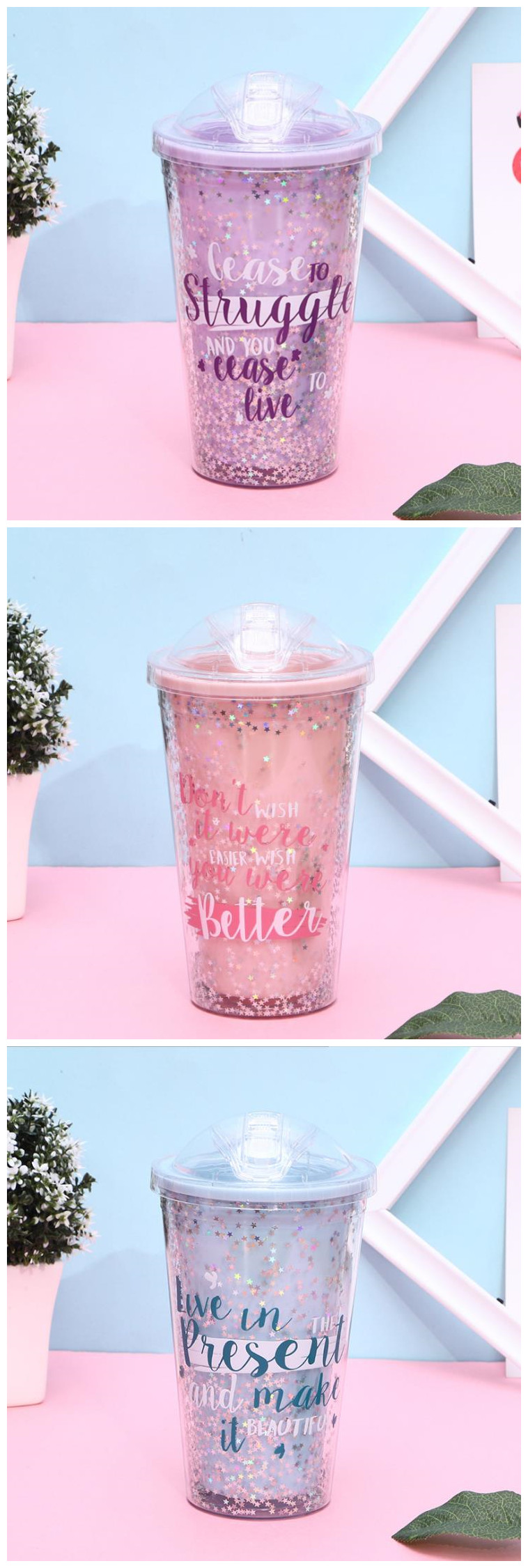 Popular 450Ml Plastic Ice Cup Bpa Double Wall Cold Custom Logo Eco Water Bottle with Straw