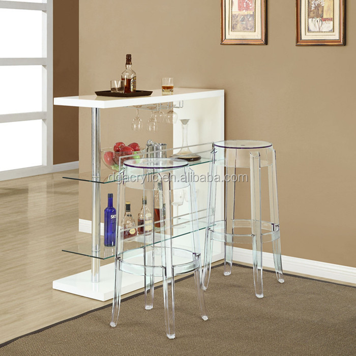 Wholesale custom made lucite clear acrylic vanity stool