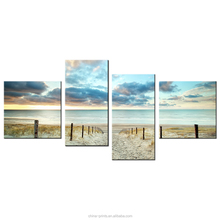 Custom Canvas Art Print HD Beach Secenery Photo Printing Home Wall Decoration 4 Panel Canvas Painting Drop Shipping Wholesale