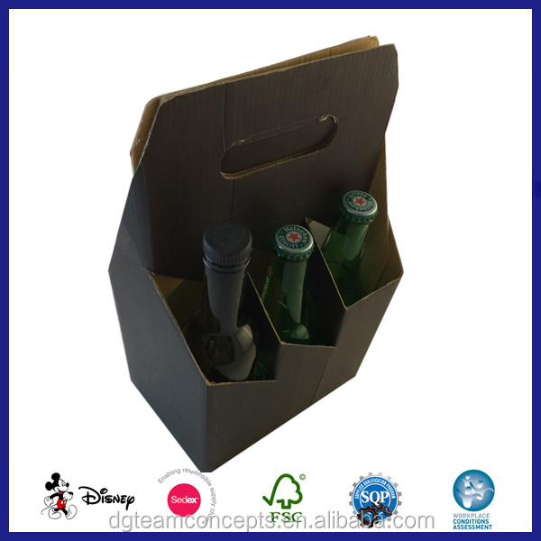 Custom 6 Pack Cardboard Printed Bottle Carriers