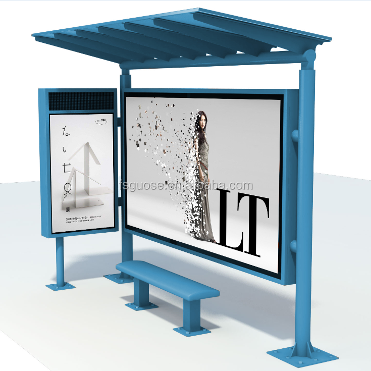 Solar power prefabricated bus stop shelters with led screen equipment