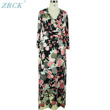 2018 Latest eco friendly all printed flower long dress ladies big size clothes