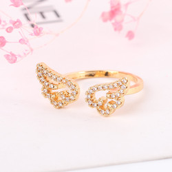 Angel wings rings,Delicate ring,Zircon opening ring new model ring by junlu jewelry
