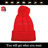 2016 High quality best selling customize red knitted women pom pom winter hat