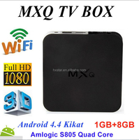 MXQ Quad Core Android TV Box Fully Loaded XBMC KODI Free Sports Film Movies Live amlogic s805 mxq firmware android 4.4 box tv