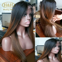 Customized cheap beautiful 150% density brazilian hair ombre color full lace wig