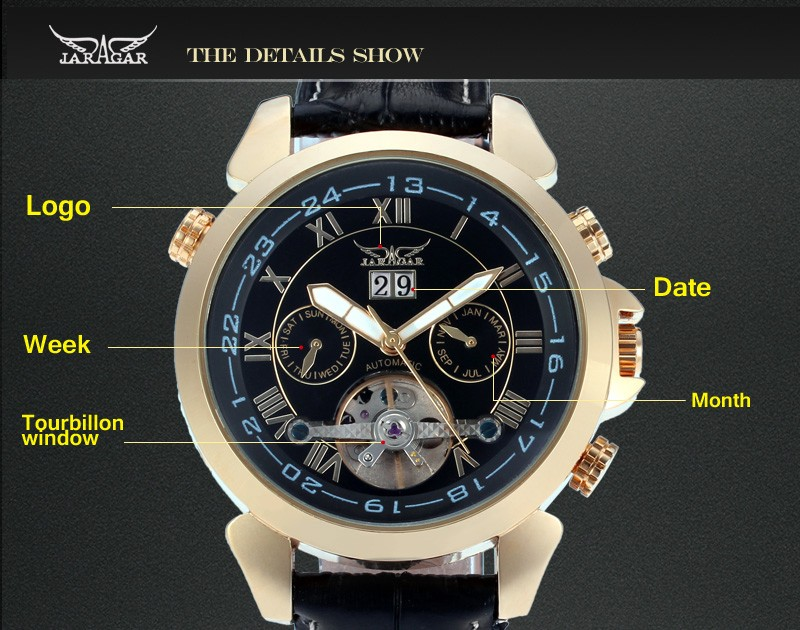 Day/Date,Auto Date,Customized logo 2018 Famous Top Brand Jaragar men's automatic watches