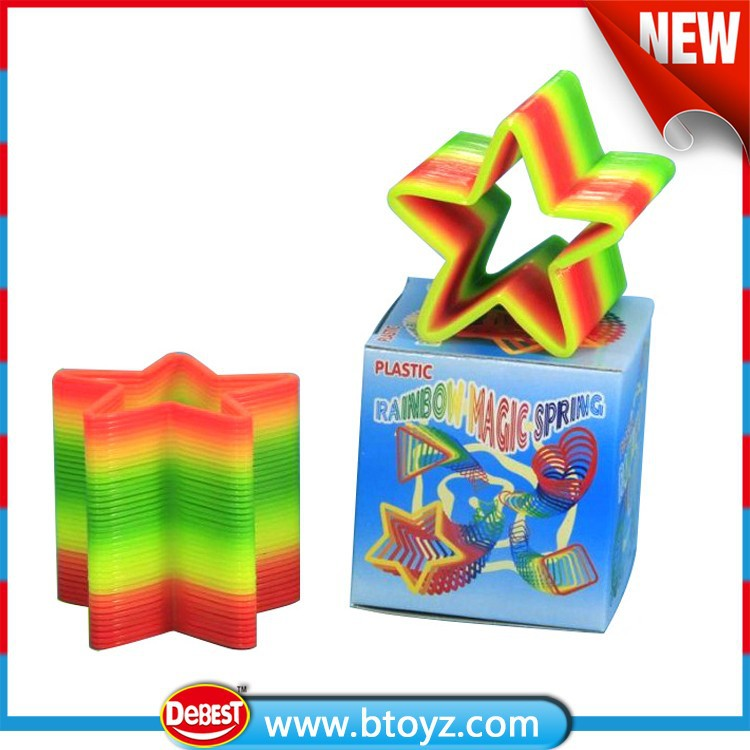 Five Star Shaped Plastic Rainbow Spring Toy