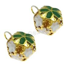 Iron Bell Pendants, Round, gold color plated, enamel & hollow, mixed colors, 15x23mm, Hole:Approx 4.5mm, Sold By PC