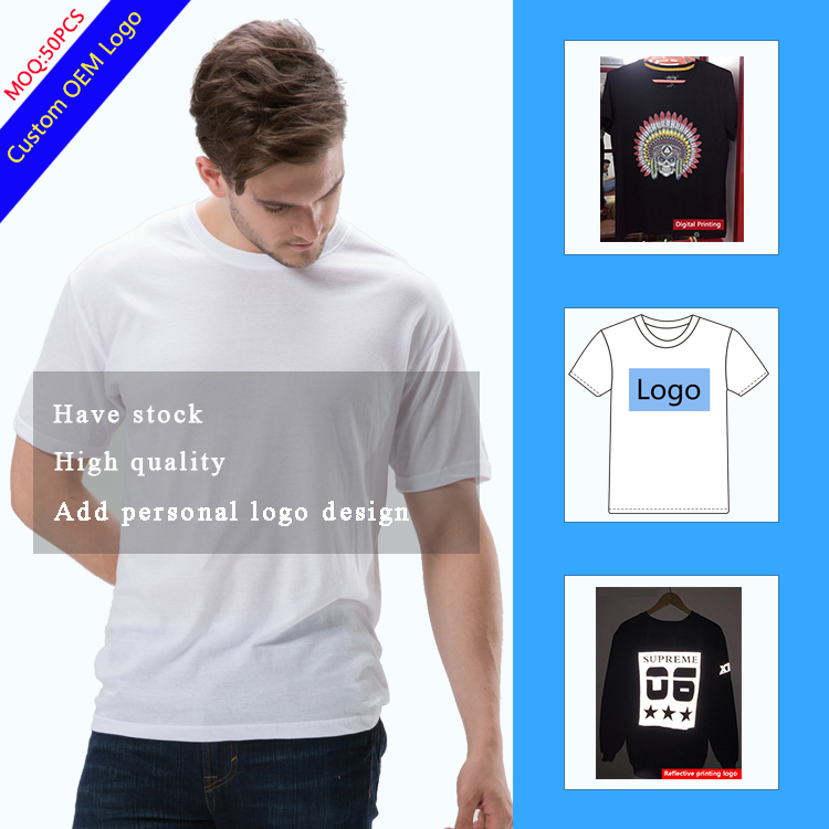 Wholesale Mens Custom White tshirt Printing 100% cotton Seamless Stock Free size Free colors Loose fit Tshirt