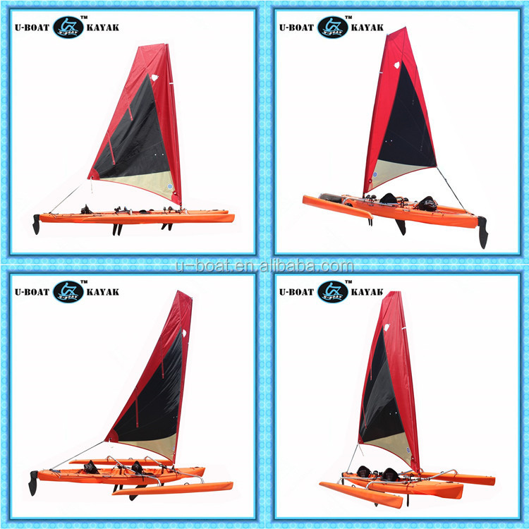 18ft plastic sailboat with foot drive pedal system and rudder
