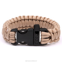 550Paracord Parachute Cord Strong Power Compiled Bracelet Emergency Military Survival Whistle Plastic Buckle Camping Wristband R