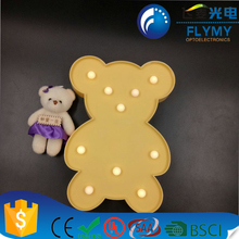3D Bear Sign Light LED plastic Bear Shaped Sign-Lighted Marquee Bear Sign Wall Decor for Chistmas Birthday party Kids Room