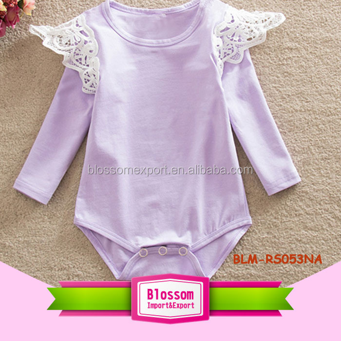 Long Sleeve Flutter Sleeve Onesie Lace Ruffle Wings Bodysuit Cotton Plain Blank Baby White Lace Flutter Romper