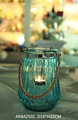 vertical strips embossed glass tea light candle holder colored
