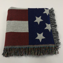 SZPLH Fashion Comfortable Woven Jacquard America/USA Flag Pattern Blanket With Tassels
