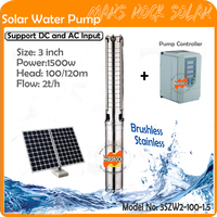1500W AC220 DC300 3 inch deep well pump with controller of permanent magnet synchronous motor max flow 6 T/H for home & farm