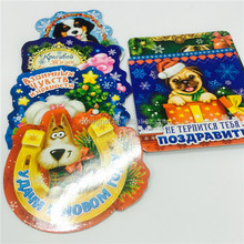 customized shape cute animal fridge magnet/ christmas cartoon paper fridge magnet