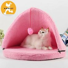 Princess pink triangle dog beds cat funny house with hanging ball