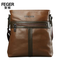 FEGER cow leather shoulder bag customized genuine leather men messenger bag