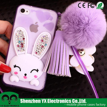 Luxury pendant soft crystal rhinestone bunny rabbit fur phone case for iphone 6s plus