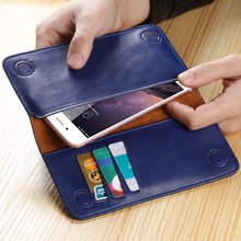 FLOVEME Genuine Leather 5.5 inches Phone Wallet Case Cover Unverisal Cell Phone Pouch Wallet Bag