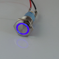 CMP 19mm 24v 12v blue angel eye ring illuminated Led Push Button Switch,Light LATCHING ON OFF Push Button Switch WITH CONNECTOR