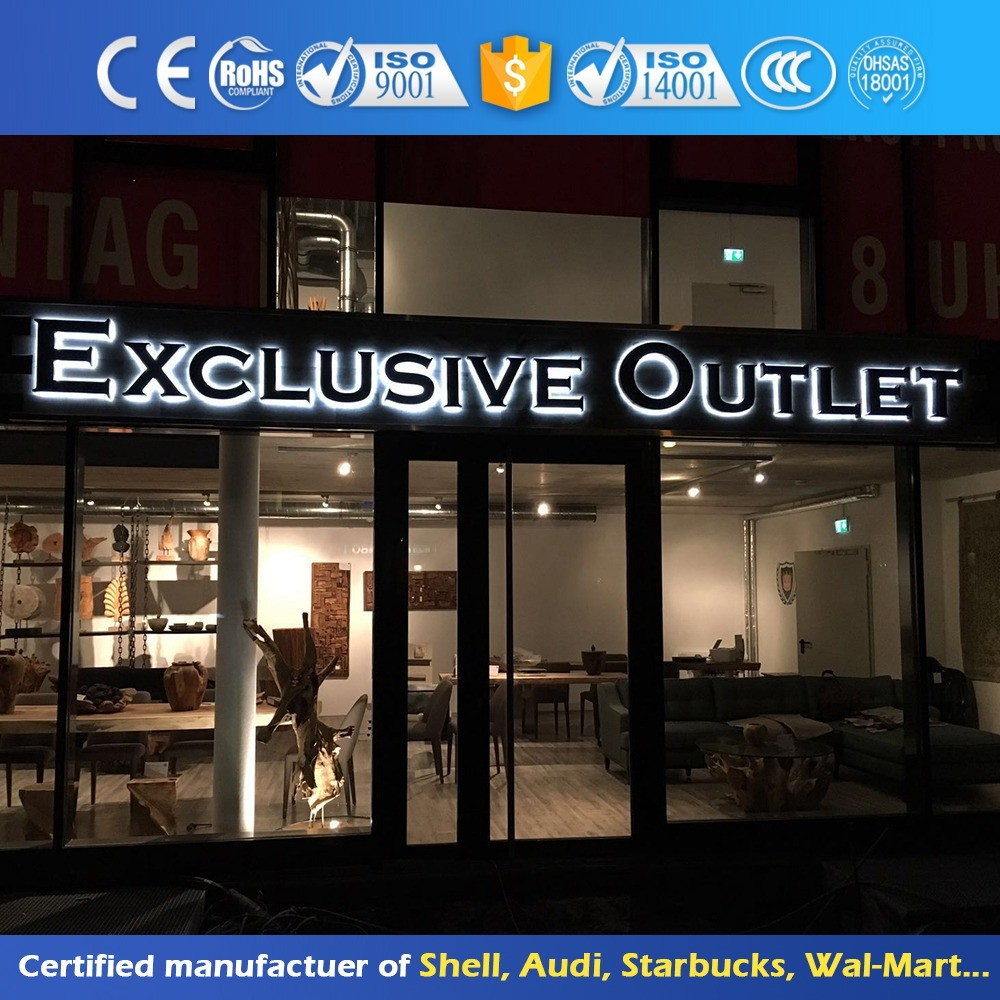 Stainless Steel Backlit Led Epoxy Resin Channel Letter Sign
