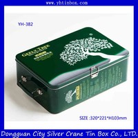 Rectangular metal tin box with lock for olive oil packaging