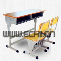 Low Price Children Double Seat School Desk and Chair Wood Furniture