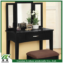 Black K/D Wooden Dressing Table With three Mirror