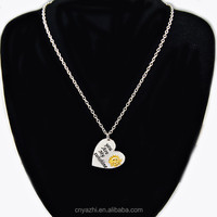 High quality nickel free white gold plated Simple design heart pendant necklaces with Letter necklace