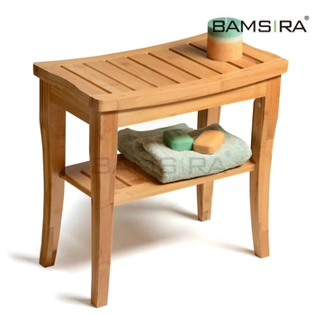 Bathroom Furniture Wood Shower Bench Bamboo Shower Seat /Bamsira_Factory