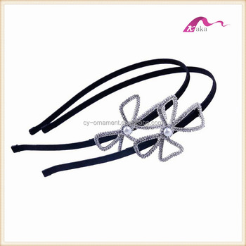 Graceful Crystal Bow Headband For Girls Party Dress Hair Accessories
