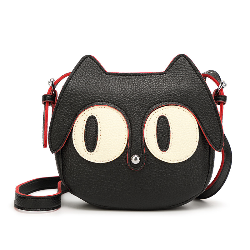 Kawaii Summer Ladies Handbag Black Cat Shape long strap Shoulder Bag PU Leather Women Messenger Crossbody Small Bag