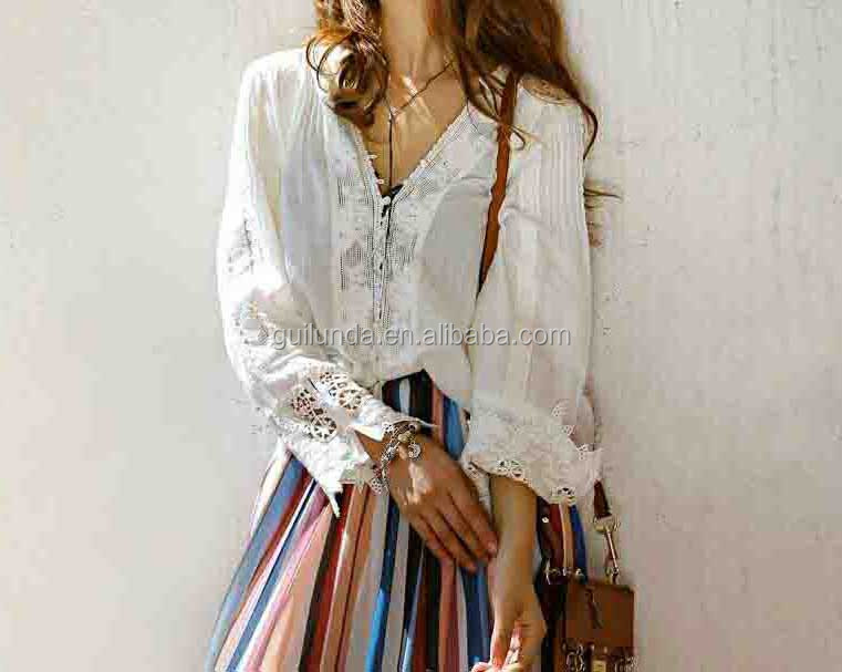 New stylish lady bohemian clothing elegant clothes lace blouse