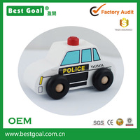 Best Goal Wooden Police Car Pull Back Toy for Kids
