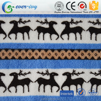 deer printed coral fleece anti-pill fabric for blanket