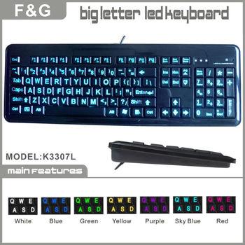 Backlit big letter keyboard with for low vision people for Backlit keyboard large letters